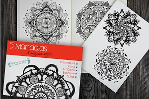 5 mandalas in 5 unique styles