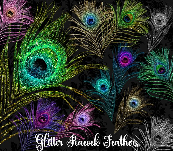 Glitter Peacock Feather Clipart