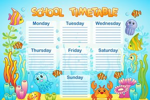 School Timetable, underwater world
