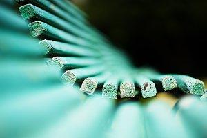 Green dramatic bench bokeh background