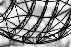 Globe steel construction illustration background