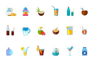 Various refreshing drinks icon set