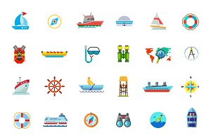Water journey icon set
