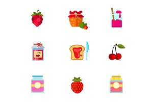 Berry jam icon set