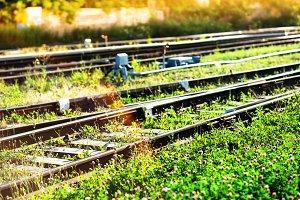 Diagonal railway background