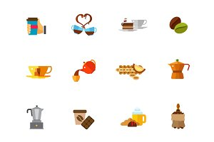 Brewing coffee icon set