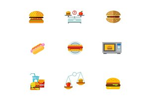 Burgers icon set