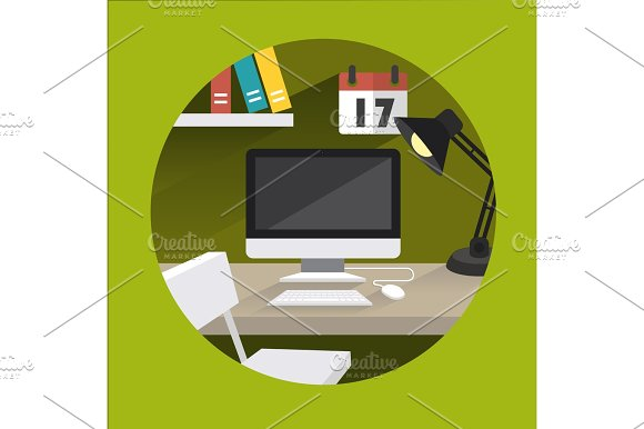 Table Office Vector Green