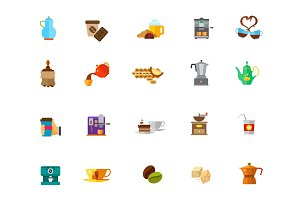 Coffee time icon set