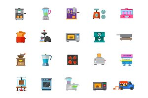 Cooking appliances icon set