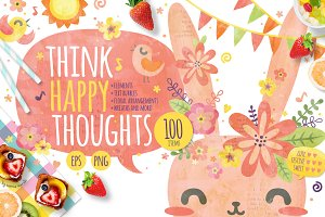 Think Happy Thoughts- Cute Bunny Set