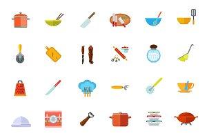 Cooking vessels, kitchen utensils icon set