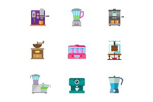 Drinks makers icon set