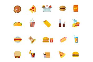 Fatty food icon set