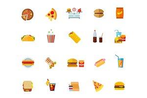 Fatty food icon set