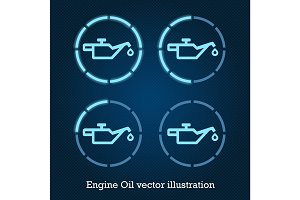 Vector car indicator icons blue engine oil