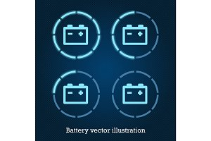 Vector car indicator icons blue battery