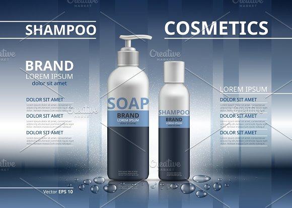 Vector Blue Shampoo Soap Mockup