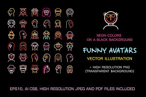 Set of Funny vector avatars (part 1)