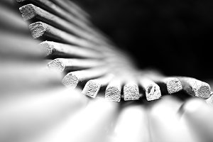 Black and white dramatic bench bokeh background