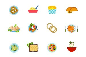 National cuisine icon set