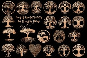 Rose Gold Foil Tree of Life