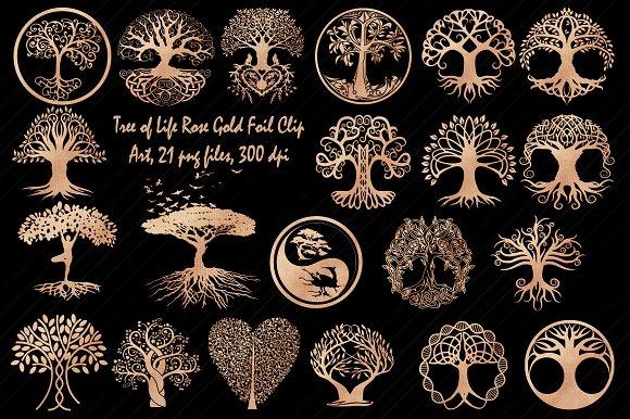 Rose Gold Foil Tree Of Life