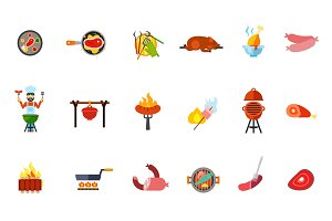 Summer picnic food icon set