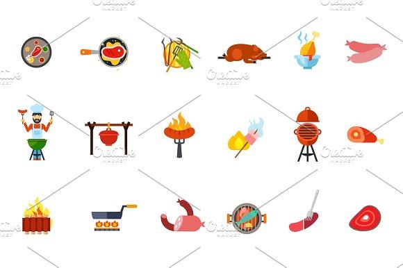 Summer Picnic Food Icon Set