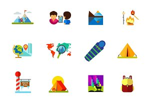 Travelling icon set