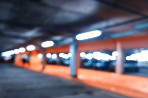 Diagonal car parking bokeh background