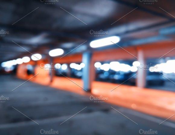 Diagonal Car Parking Bokeh Background