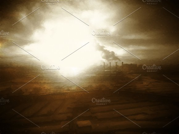 Dark Industrial Landscape Backdrop