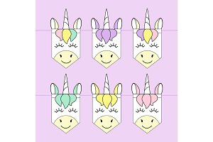 Cute childish bunting flags with magic rainbow hair unicorns