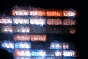 Vertical office building illumination illustration background
