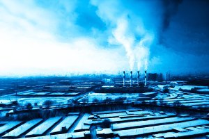 Dark and blue industrial landscape backdrop