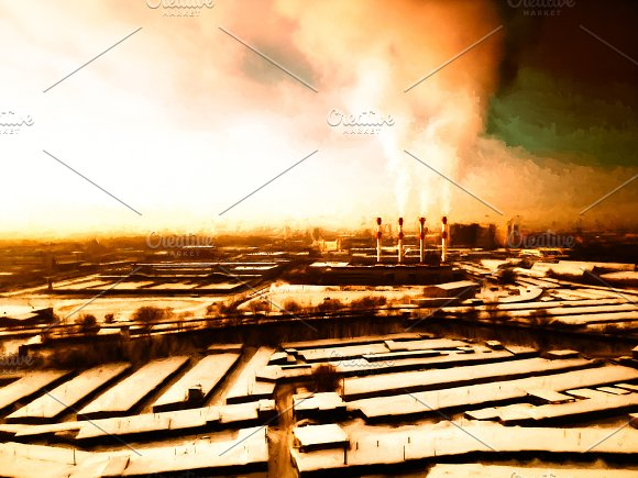 Dark Radioactive Industrial Landscape Backdrop