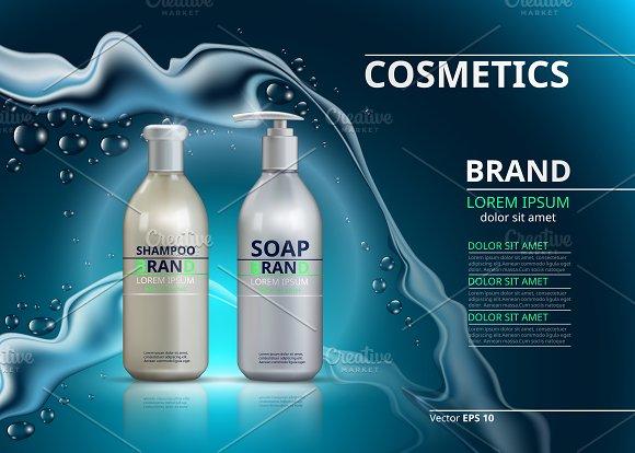 Vector Blue Shampoo And Soap Mockup