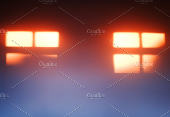 Two Sunset Windows Silhouettes Bokeh Background