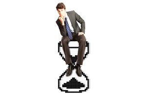 Businessman Sitting on Hourglass