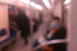 Vertical inside moscow metro carriage bokeh background