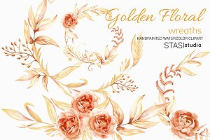 Watercolor Floral Wreaths Clip Art