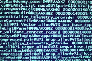 Navy blue pixelated computer code backdrop