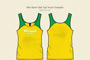 Men Sport Tank Top Vector Template