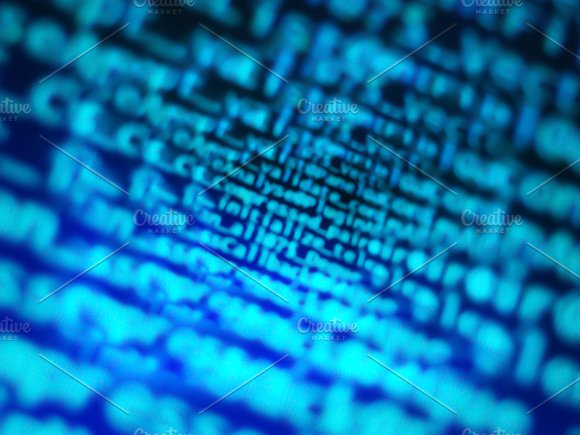 Diagonal Blue Computer Code Bokeh Background