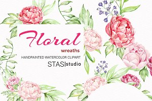 Peonies Wreaths Watercolor Clipart