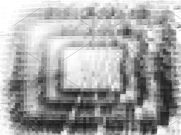 Black And White Pixel Blocks Illustration Background