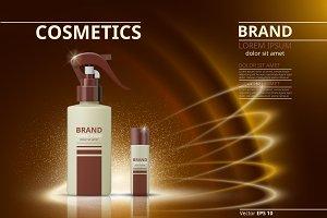 Vector golden cosmetic package mocku