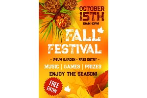 Fall harvest festival, autumn party banner design