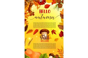 Hello autumn banner design with fall nature frame